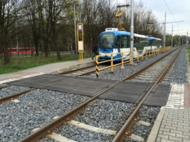 Tram and railway crossing